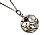 Steampunk Necklace, Garnet Necklace, Watch Movement Necklace, Steampunk Pendant
