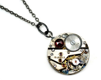 Steampunk Necklace, Garnet Necklace, Watch Movement Necklace, Steampunk Pendant