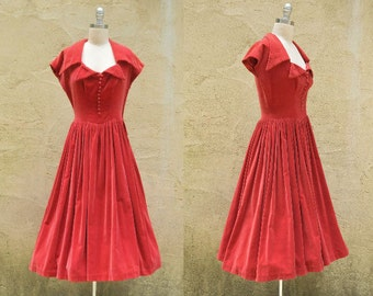 Red Velour Gown Sz S // 1950s Buttons Wide Collar