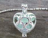 Aqua Sea Glass  Heart  Necklace Locket Frosted Pale Rare Genuine
