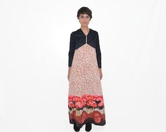 70s maxi dress - vintage psychedelic prairie hippie boho op art contrast floral print black pink red long sleeves - small / medium
