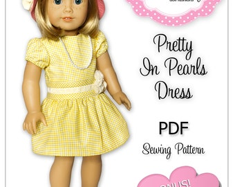 PDF Sewing Pattern for 18 Inch American Girl Doll Clothes - Pretty In Pearls Dress ePattern