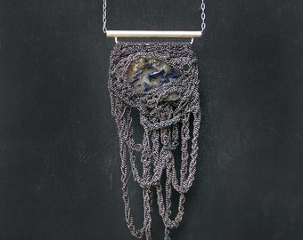 raw azurite specimen crochet oxidized silver necklace, ooak