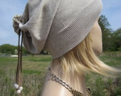 BOHO Clothing Hats Lightweight Beanies Summer Hat Tan PIMA Cotton Slouchy Leather Tie Back Freshwater Pearls A1342