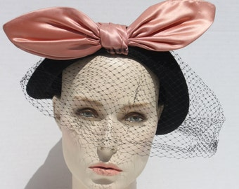 Vintage 50s Hat Turban Wrap Cloche Satin Peach Black Big Bow