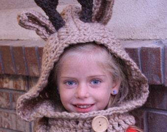 Reindeer Hooded Cowl Hat - Hooded Scarf Hat - Tan Reindeer  Cowl Hat - Children's Hooded Cowl Photography Prop  -by JoJosBootique