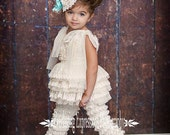 Baby girl outfit, Ivory Lace Chiffon Tutu Swing Top or Dress and Lace Petti Pants, flower girl, Photo Shoots,Tea Parties and Dance