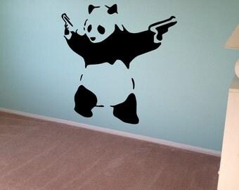Banksy Wall Decal Panda Guns Wall Art Wall Sticker Vinyl Poster Graffiti Street Art