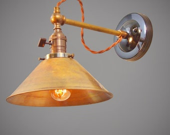 Industrial Wall Light - Steampunk Lamp - Industrial Wall Sconce - Machine Age Lamp - Brass Cone Shade - Industrial Lighting - Cafe Light