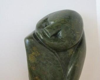 Signed Hand Carved Verdite by Ngoni Mrewa  - Sleeping Child Figure - Noted Zimbabwe Contemporary Stone Artist
