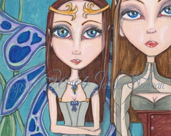 Fairie Sisters, fairy princess, illustration, hand drawn, faerie print, blue green and brown, fantasy artwork