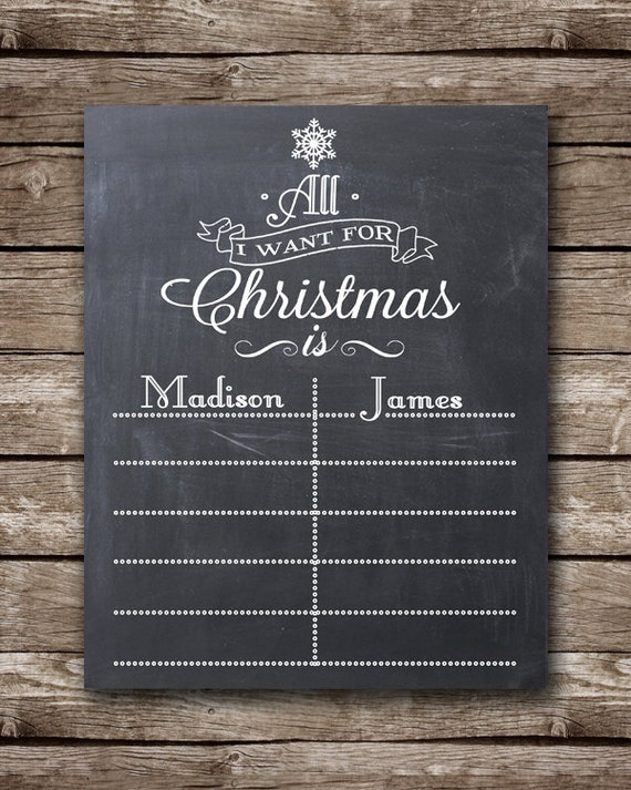 All I Want for Christmas - Custom Printable Wish List