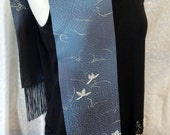 Vintage Kimono Silk Scarf, Blue-Gray Pebbled Texture of Flowing Water and Hand-Painted Lilies