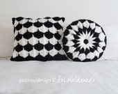 Knit pillow pattern x 2: clamshell & Pinwheel BUNDLE - square and round cushions PHOTO tutorial - Instant DOWNLOAD