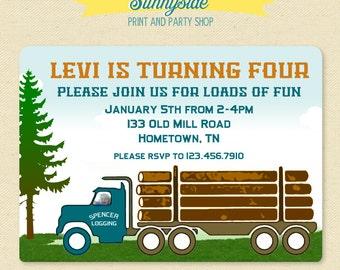 Log Truck Birthday Photo Invitation  - Printable Invite - Lumberjack Logger Logging Birthday Party