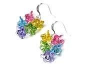 Flower Earrings, Colorful Swarovski Crystal Flower Silver Earrings, Flower Jewelry, Lucite Flowers, Pink, Yellow, Green, Turquoise, Purple