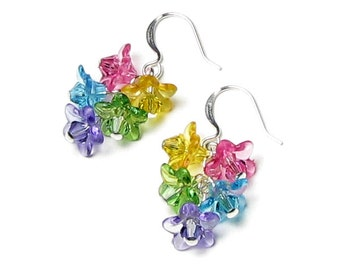 Flower Earrings, Colorful Swarovski Crystal Flower Silver Earrings, Flower Jewelry, Lucite Flowers, Pink, Yellow, Green, Turquoise, Purple