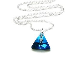 Bermuda Blue Swarovski Crystal Triangle Silver Pendant Necklace Ocean Theme Mermaid Glitter Summer Beach Wedding Jewelry Gift for Women Teen