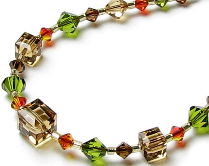 Autumn Leaves Fall Colors Swarovski Crystal Necklace, 14K Gold Filled, Floating Cascading Beads, Olive Green Orange Brown Topaz Jewelry Gift