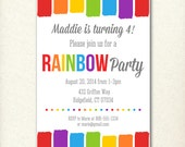CUSTOM Rainbow Birthday Party Invitation