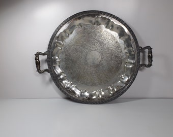 Sale 16'' Silver Plated Platter with Handles,Ornamental Serving Tray Silverplated Gift