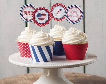 Printable 4th of July cupcake toppers AND wrappers: Instant Download