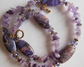 Lilac flowers Agate and Amethyst necklace 399
