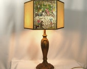 Lamp Shade Hand Made Hex Vintage Asian Themes Inserts Gold Silk