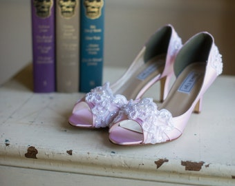 Wedding shoes peep toe low heel short heel high heels bridal shoes embellished with ivory organza lace, crystal sequins, and pearls