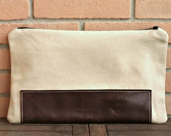 Leather canvas purse - leather canvas bag - leather canvas clutch - Ipad case - handmade bag - leather bag - Valentines gift - large clutch