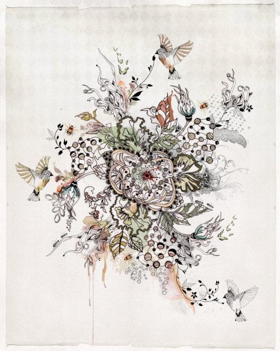 Impresión de originales acuarelas y tinta pintura, arte moderno, la pintura abstracta, pintura de la acuarela