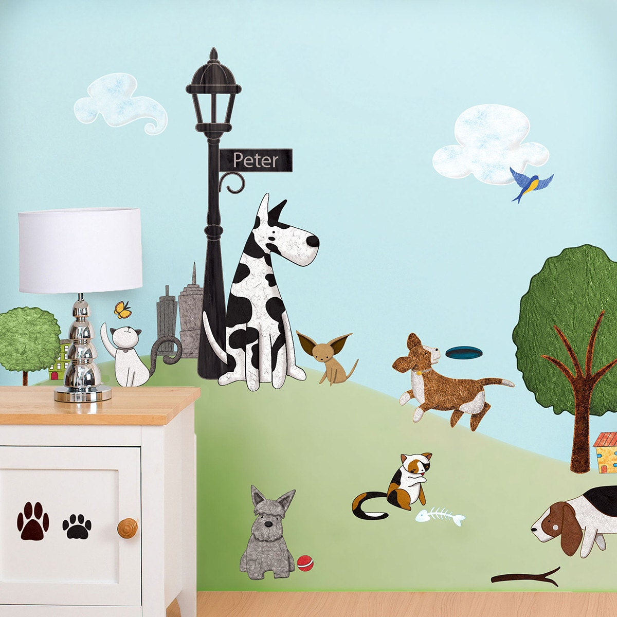 Cat and dog wall decals stickers for nursery and kids room for Childrens wall mural stickers