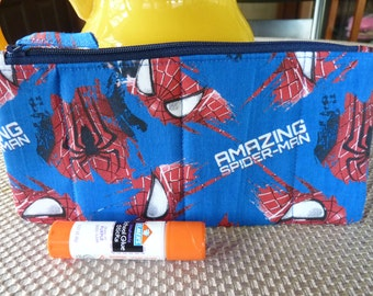 Handcrafted Spiderman Zipper Pencil Case/ Pouch/ Gadget Bag