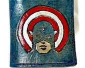 Leather Wallet with Captain America from The Avengers holds 8 cards and has 1 bill slot.