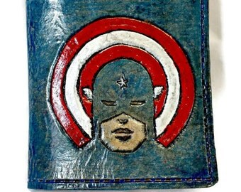 Avengers Gift - Avengers Wallet - Captain America - DC - marvel - comic books - cosplay - steve rogers. Holds12 Credit Cards,2 Bill Slots