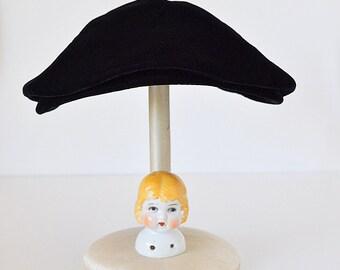 Vintage Black Clamshell Hat Eva Mae