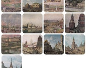 The Moscow Kremlin on paintings. Set of 13 Vintage Postcards - 1960s-1980s