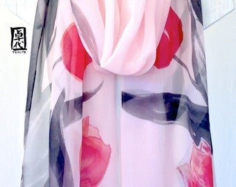 Hand Painted Silk Shawl, Gift for her, Gift for Women, Silk Scarf Pink, Pink Tulips Spring Scarf, Silk Chiffon Scarf, 20x80 inches,