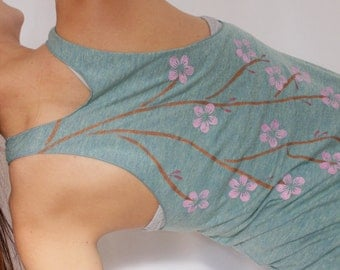 Cherry Blossom Yoga Tank Top Hand Painted, Womens Yoga Clothes, Cherry Blossoms, Racerback Tank Hand Painted, Gifts for Her