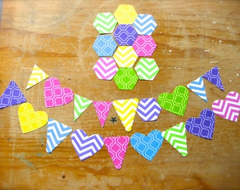 Neon Chevron Pattern Hearts, Hexagons, & Pennants Confetti-Lot of 40 Shapes-DIY Mini Banner-Blank Paper Labels-Geometric Party Prints Banner