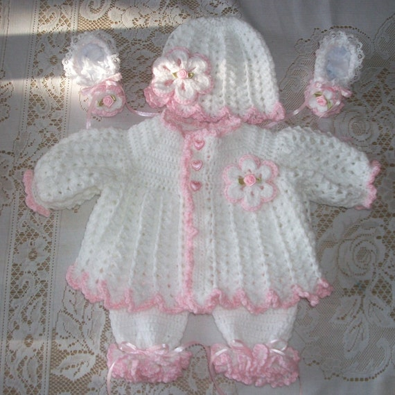 Crochet Baby Girl Pink Sweater Set Layette By