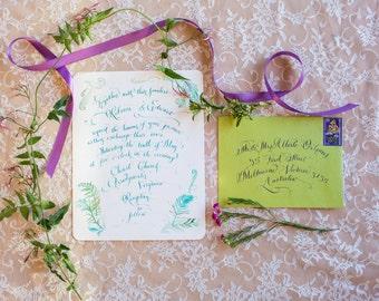 Hand Calligraphy + Illustration Wedding Invitation - Hand Lettered design -  Invitation & Reception Card Artwork - With Custom Illustration