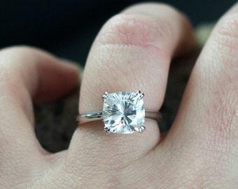 White Sapphire Engagement Ring Phoebe Cushion cut Diamond Alternative 2.5 3 ct 8mm Custom Size White-Yellow-Rose Gold-10k-14k-18k-Platinum
