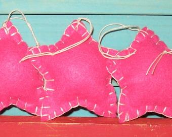 Primitive Fushia Pink Felt Stars Ornament Set One Dozen Made To Order