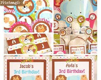 Jungle Party Invitations & Decorations - Jungle Birthday Party - Jungle Baby Shower - Baby Jungle Animals - Personalize in Adobe Reader