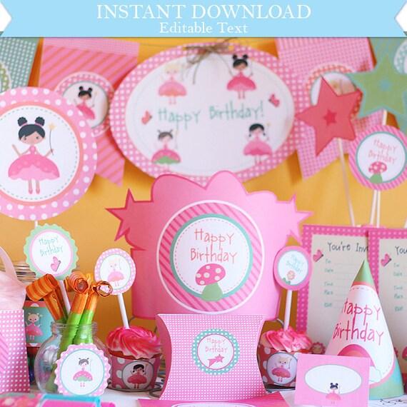 fairy princess birthday party invitations amp by printmagic