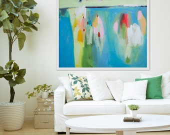 "GICLEE print, blue abstract painting with green and pink. Modern painting ""Blue Haze"""
