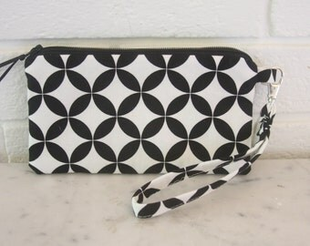 Small Wristlet,Black and White Zippered Pouch, Geometric, Clutch, Wallet, Phone sleeve