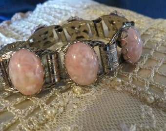 Vintage Victorian Revival Pink Marbled Art Glass Cabochon Antiqued Silver Bookchain bracelet
