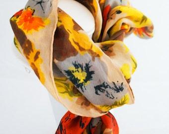Scarf - Silk Yellow Orange Vintage 1970s  Floral Square Neutrals Scarf